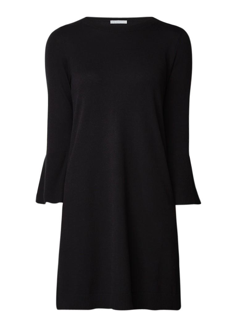 Repeat Fijngebreide jurk met klokkende mouw zwart