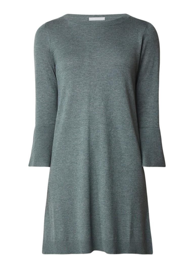 Repeat Fijngebreide jurk in katoenblend khaki
