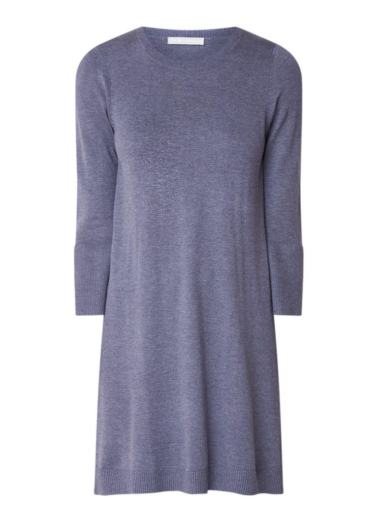 Repeat Fijngebreide trui-jurk in katoenblend met klokmouw blauwgrijs