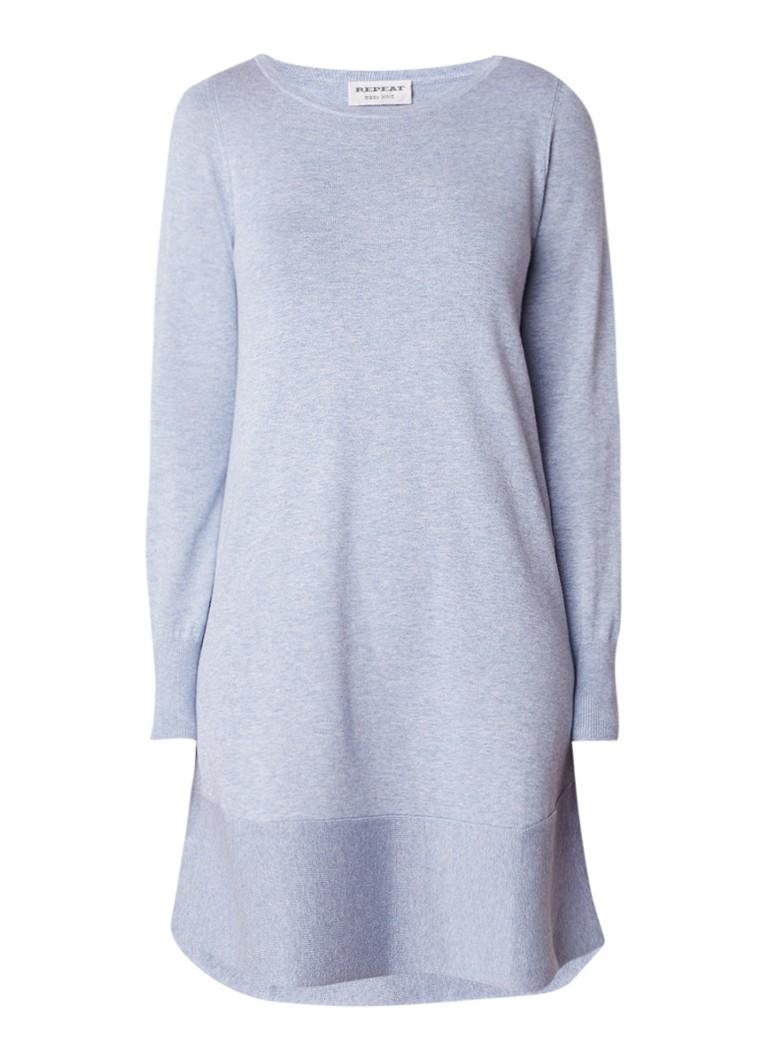 Repeat Fijngebreide midi-jurk in katoenblend lavendel