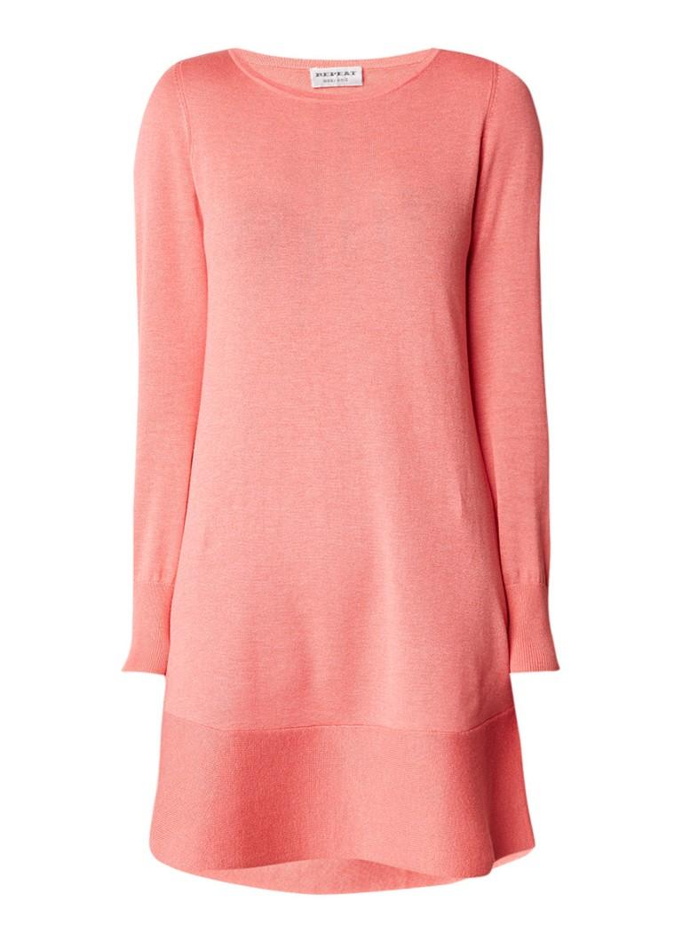 Repeat Fijngebreide midi-jurk in katoenblend koraalrood