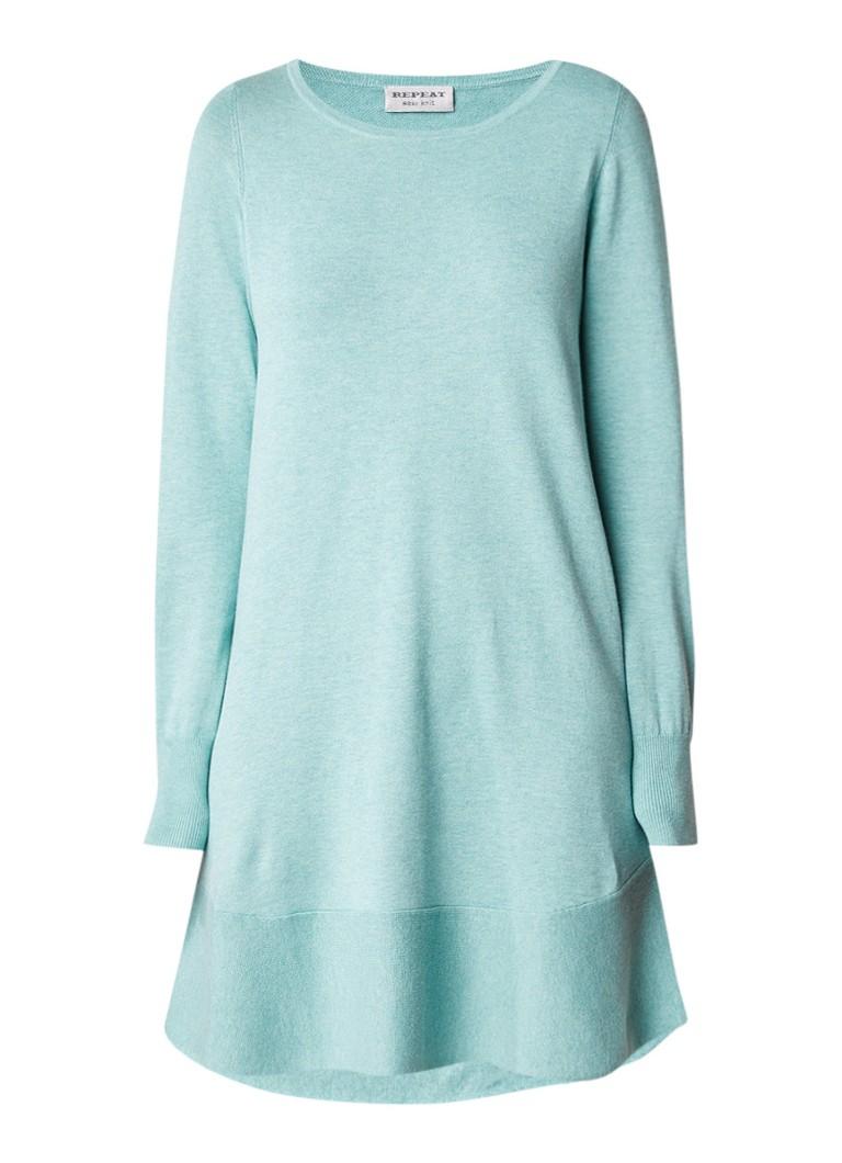 Repeat Fijngebreide midi-jurk in katoenblend mint