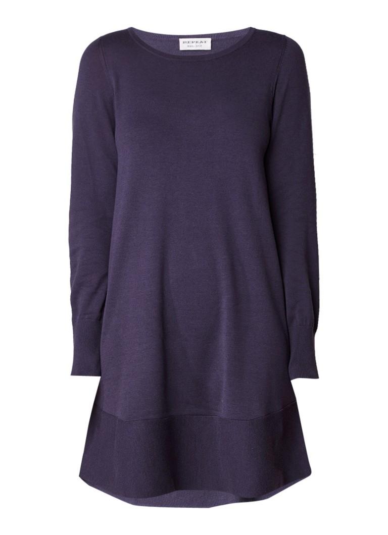 Repeat Fijngebreide midi-jurk in katoenblend staalblauw