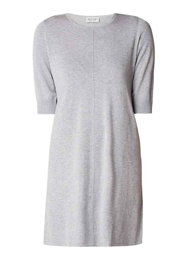 Repeat Loose fit fijngebreide mini-jurk in katoenblend grijs