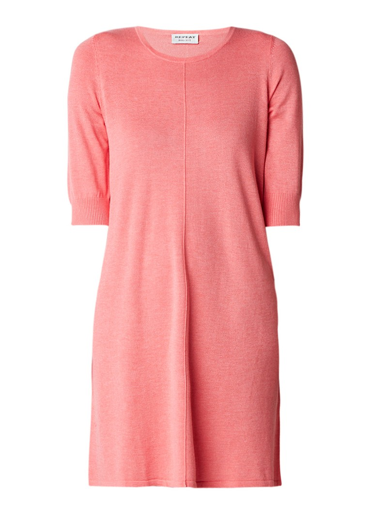 Repeat Loose fit fijngebreide mini-jurk in katoenblend roze