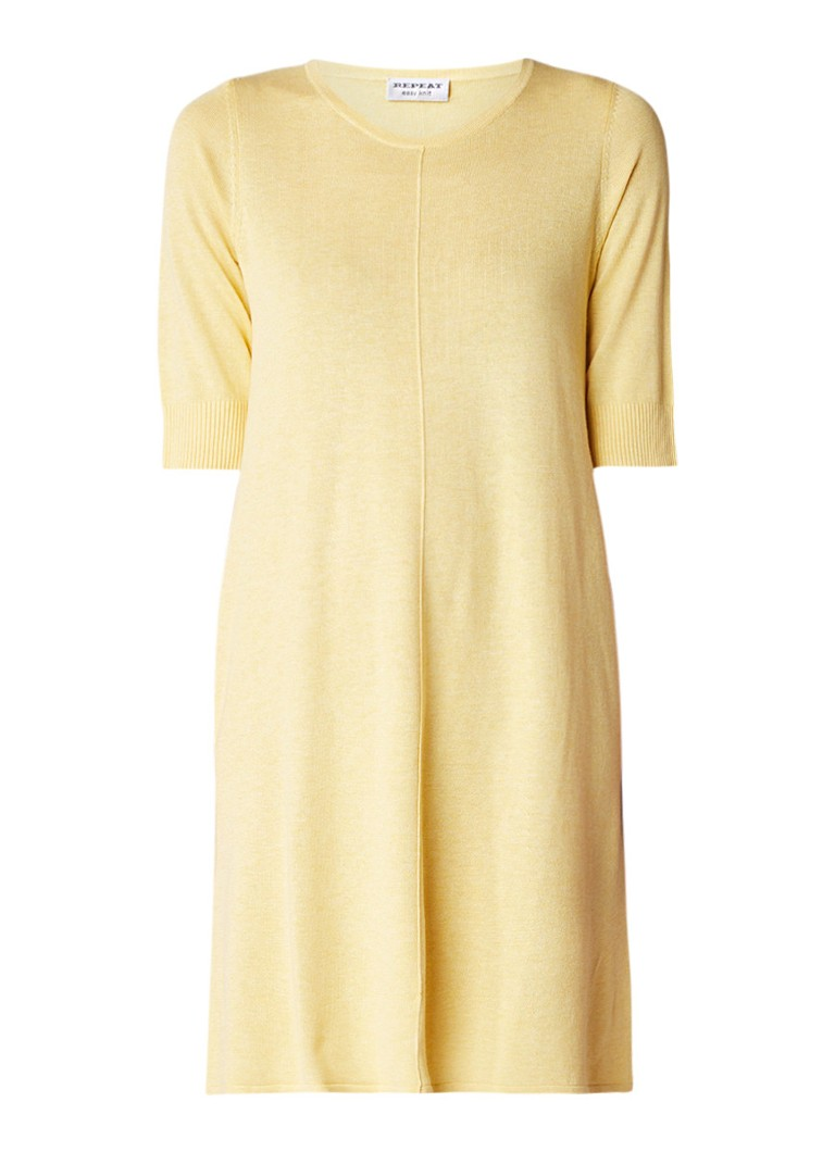 Repeat Loose fit fijngebreide mini-jurk in katoenblend geel