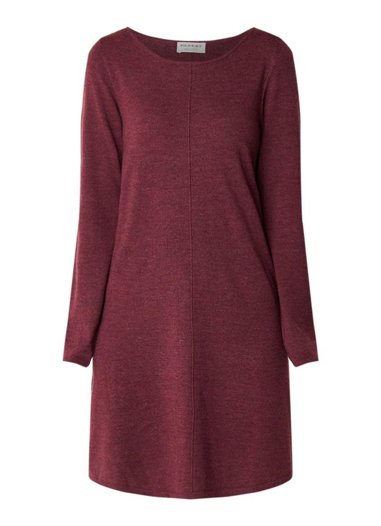 Repeat Loose fit fijngebreide jurk van wol aubergine