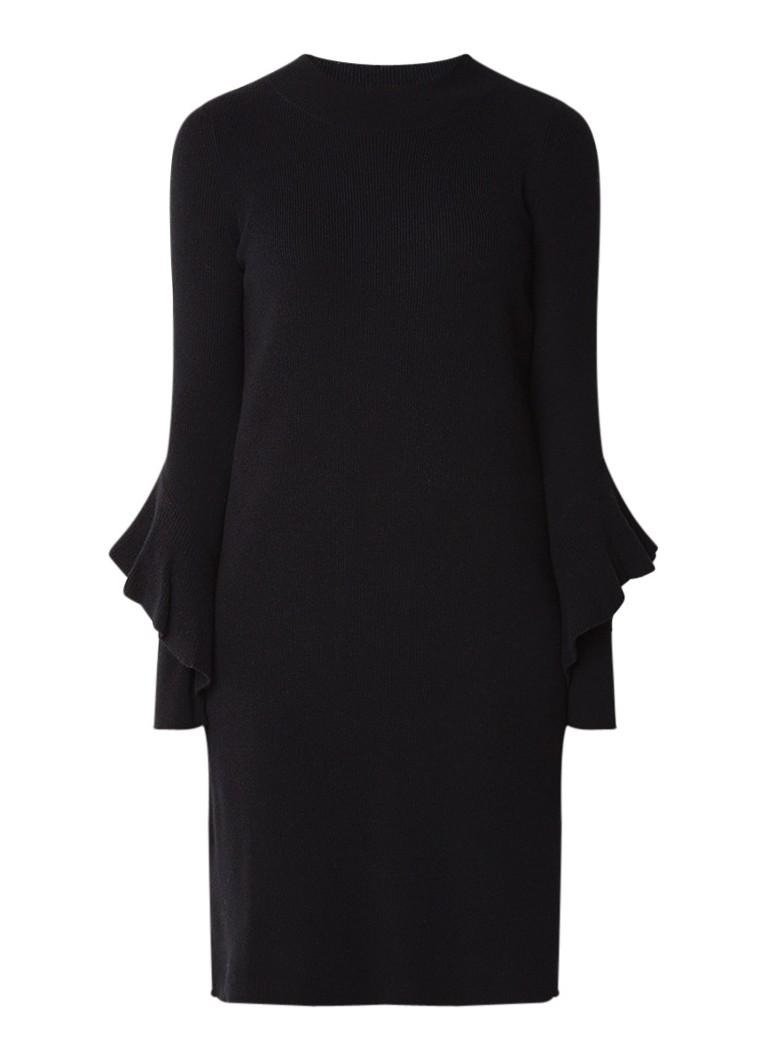Repeat Fijngebreide jurk in kasjmierblend met volantmouw zwart
