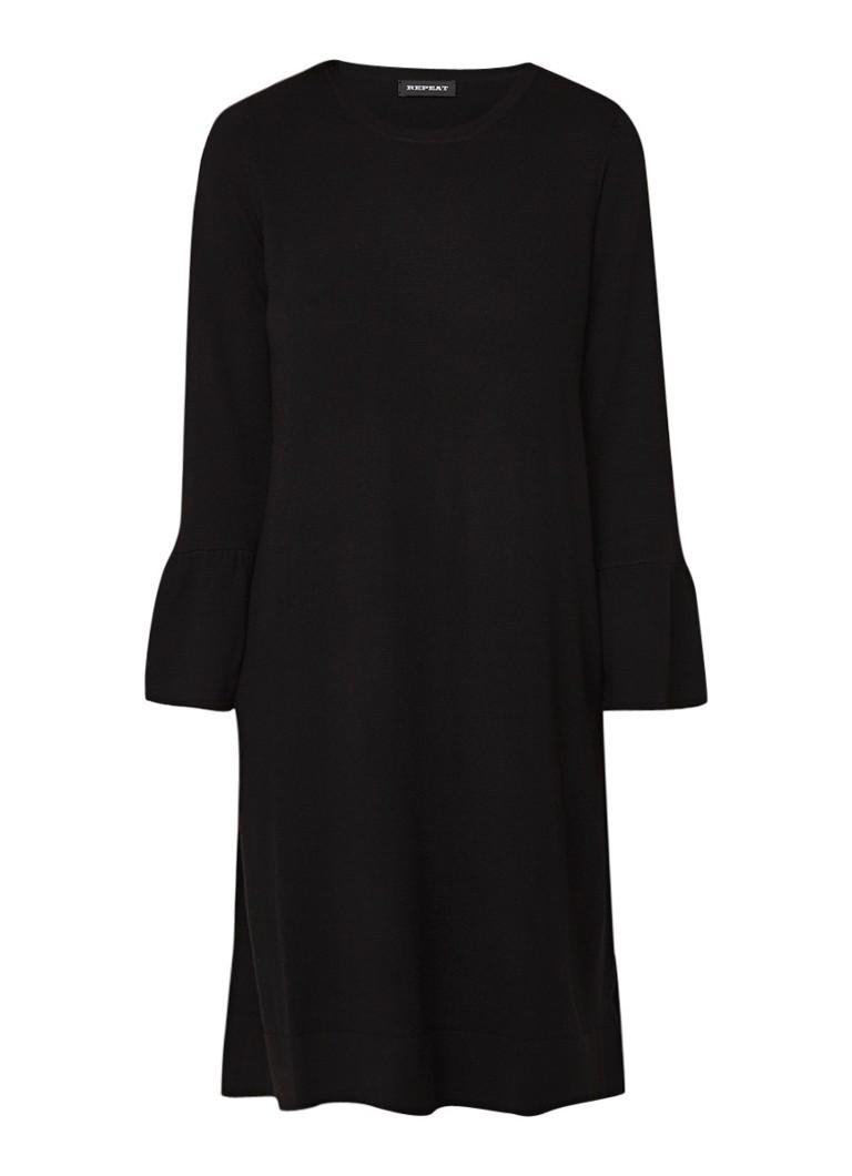 Repeat Loose fit jurk van wol met klokkende mouw zwart