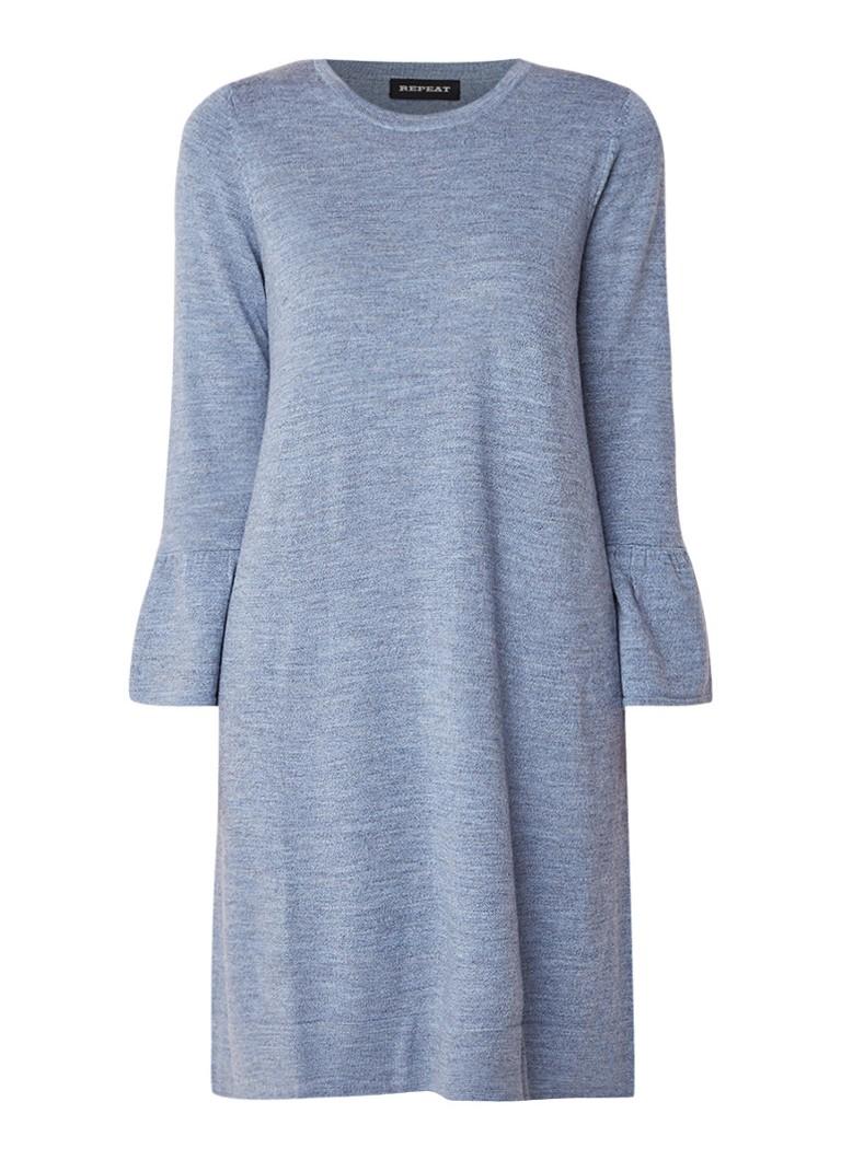 Repeat Fijngebreide trui-jurk van merinowol met klokmouw staalblauw