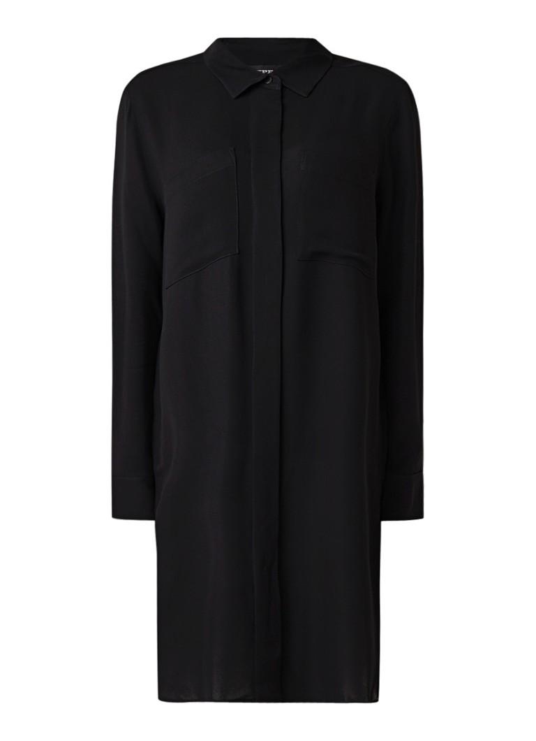 Repeat Loose fit blousejurk van crêpe zwart
