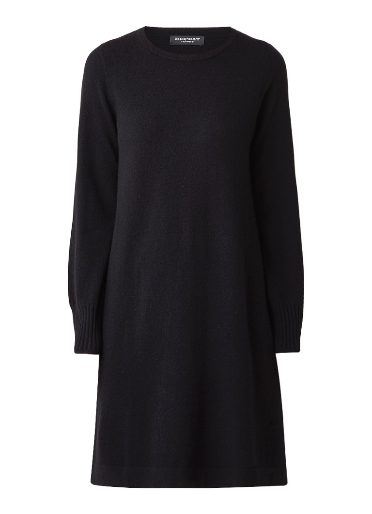 Repeat Fijngebreide midi-jurk van kasjmier zwart