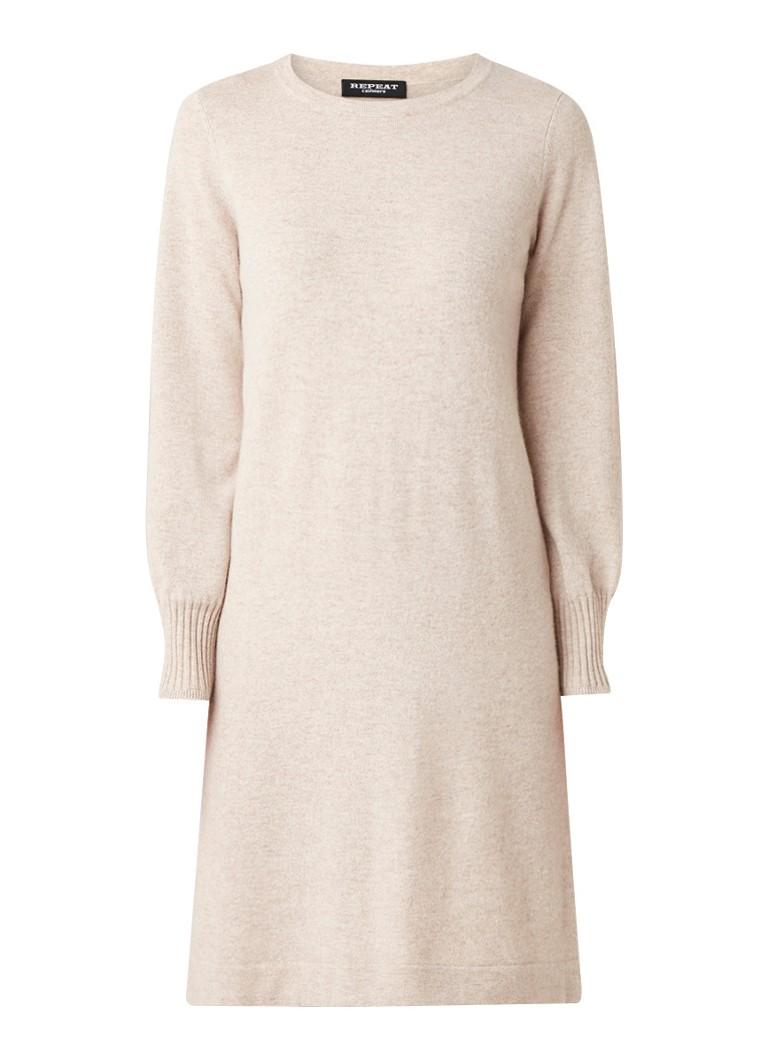 Repeat Fijngebreide midi-jurk van kasjmier zand
