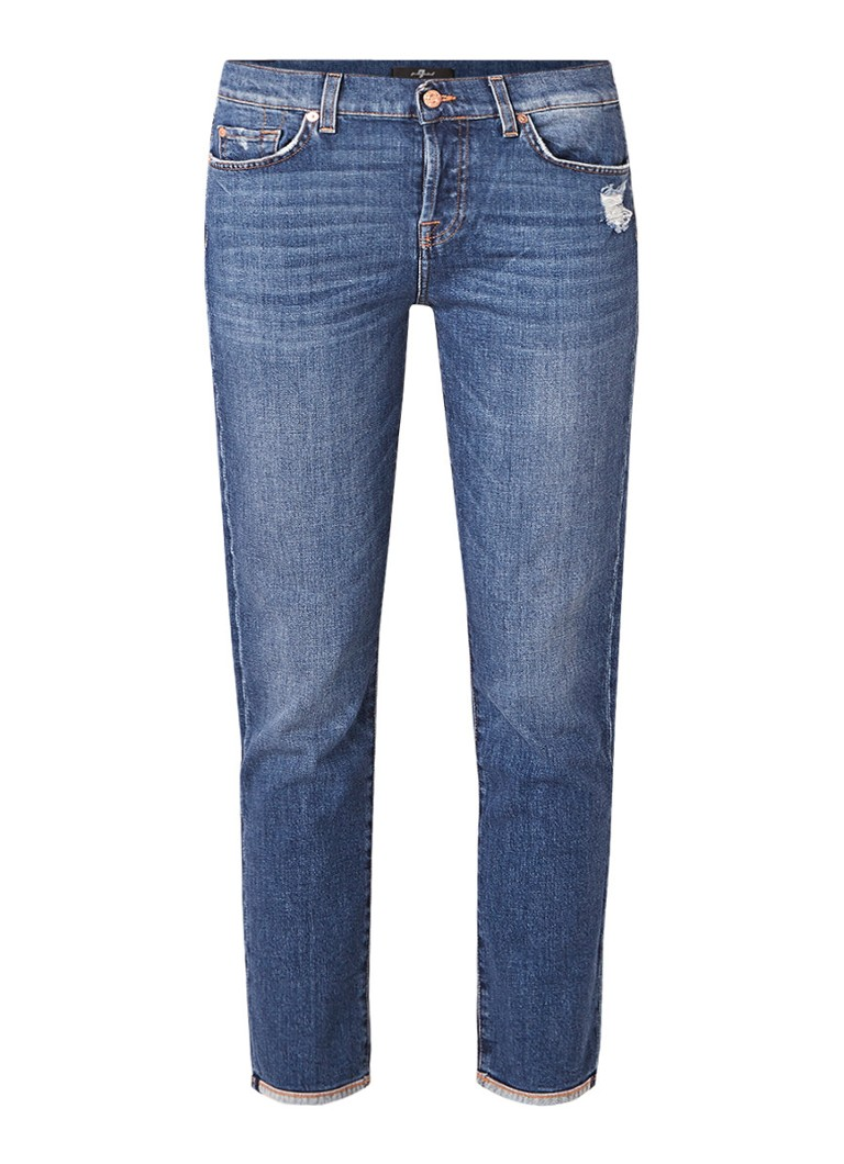 7 For All Mankind Asher 7/8 high rise slim fit jeans met destroyed detail
