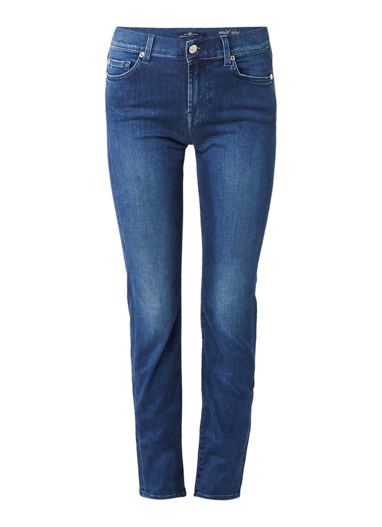 7 For All Mankind Slim Illusion Roxane mid rise slim fit jeans met donkere wassi