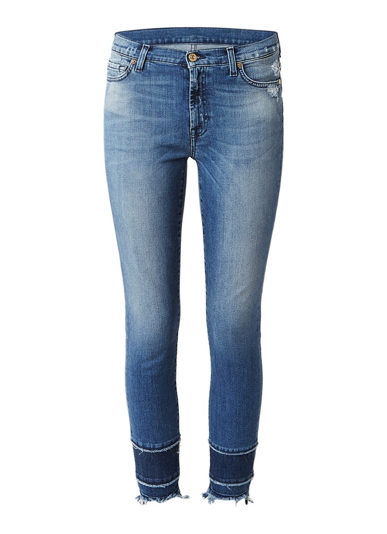 7 For All Mankind Skinny cropped jeans met medium wassing en gerafelde zoom