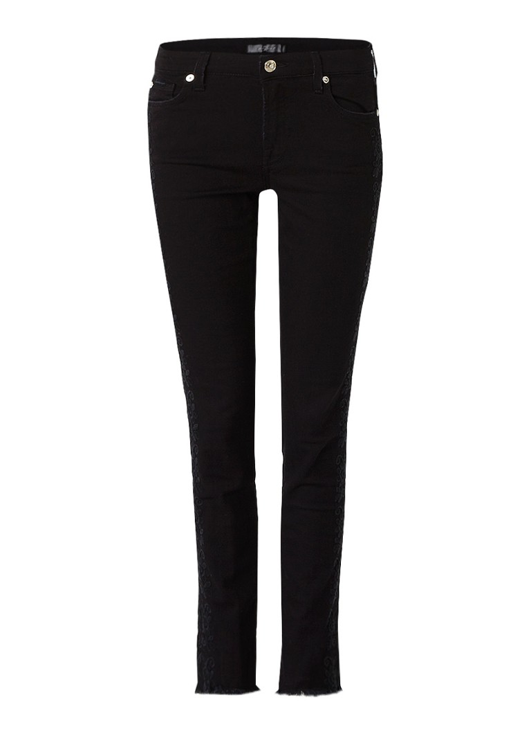7 For All Mankind Pyper low rise skinny fit jeans met borduring