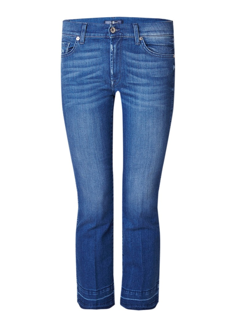 7 For All Mankind High rise bootcut jeans met gerafelde afwerking