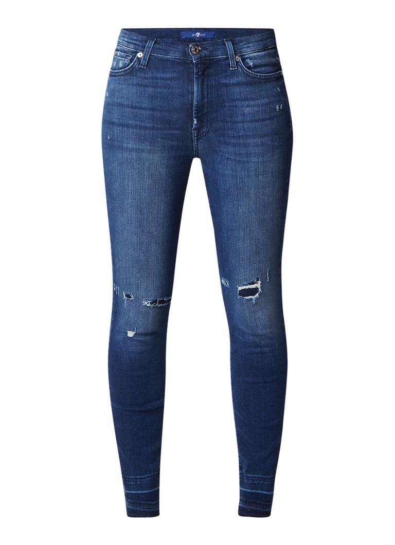 7 For All Mankind High Waist Slim Illusion cropped skinny jeans met destroyed lo