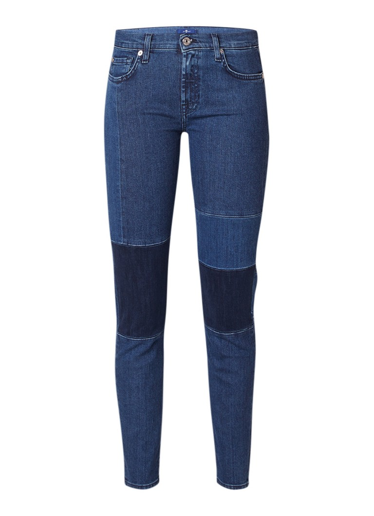 7 For All Mankind Cropped skinny jeans met patchwork