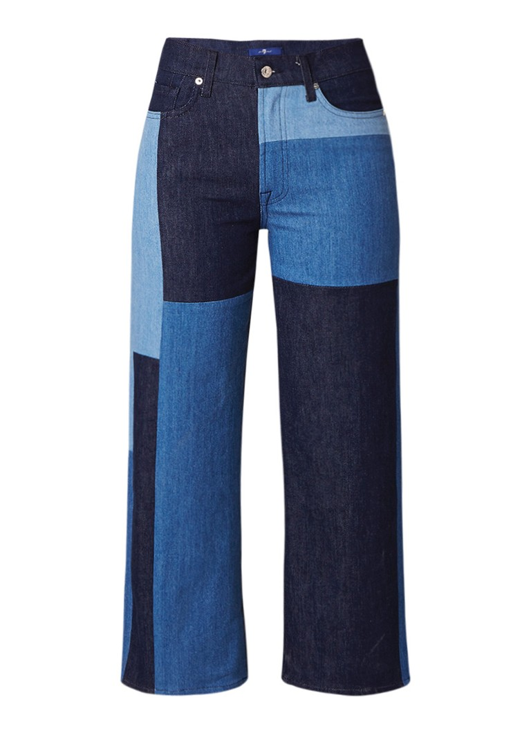 7 For All Mankind Marnie high waist cropped flared jeans met patchwork