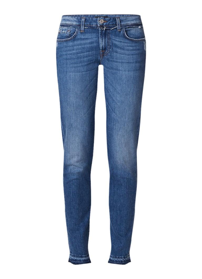 7 For All Mankind Pyper low rise slim fit jeans met gerafelde zoom
