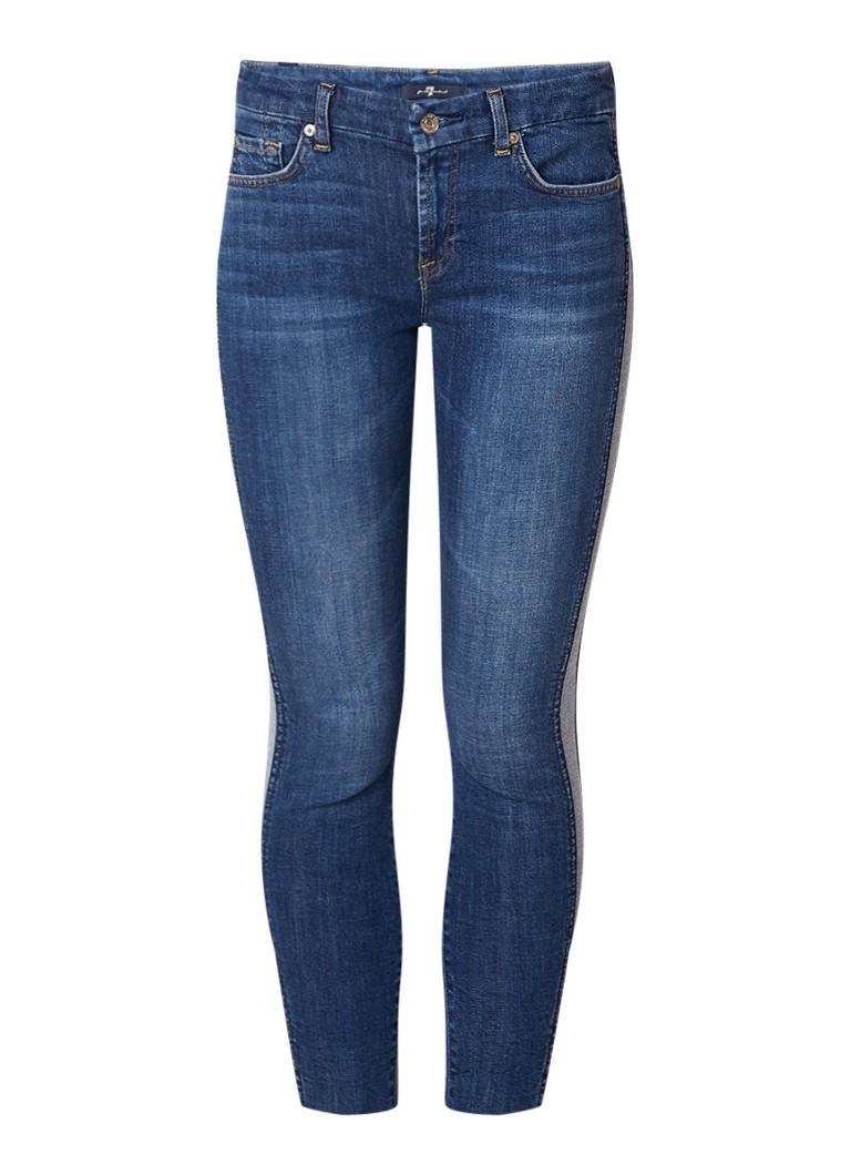 7 For All Mankind Cropped high rise skinny jeans met contrastbies
