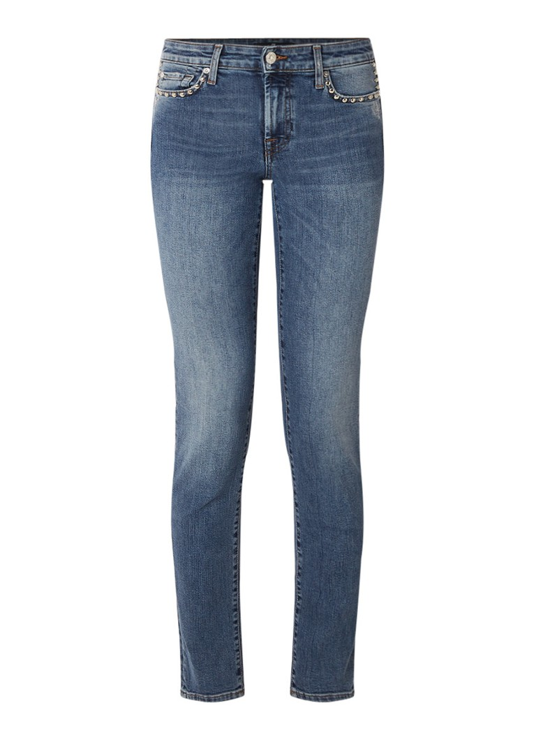 7 For All Mankind Pyper mid rise skinny fit jeans met studs