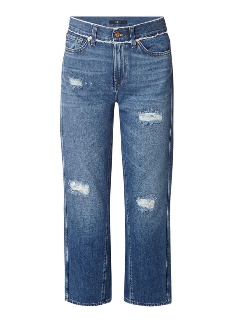 7 For All Mankind Kiki cropped straight fit jeans met gerafelde afwerking