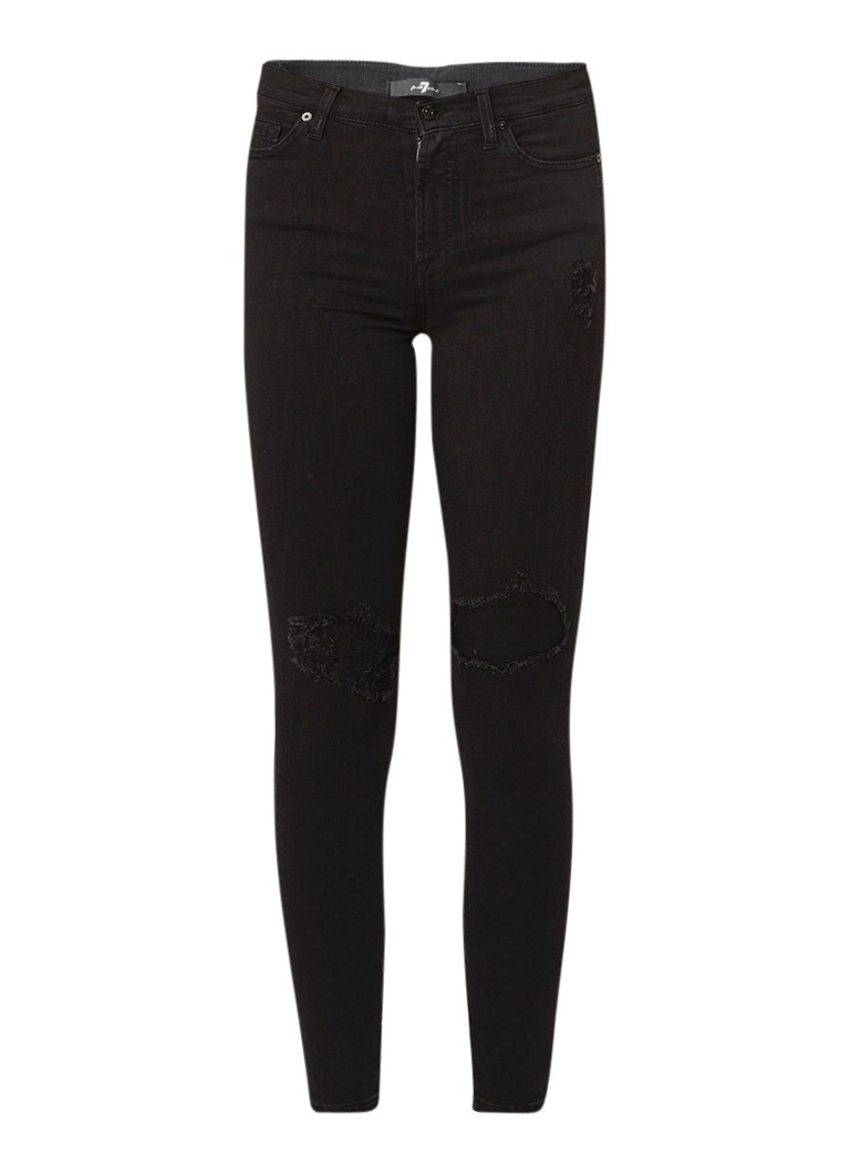 7 For All Mankind High rise skinny fit jeans met donkere wassing