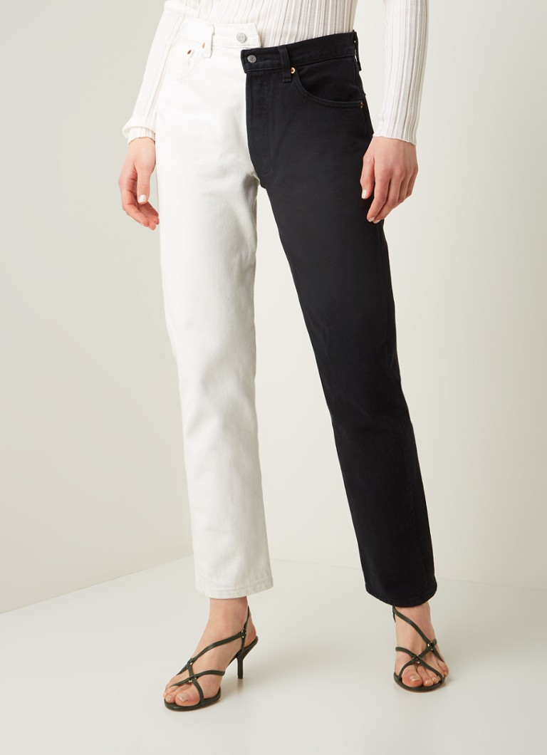 1/OFF - #00124 high waist straight fit jeans met contrast - Zwart