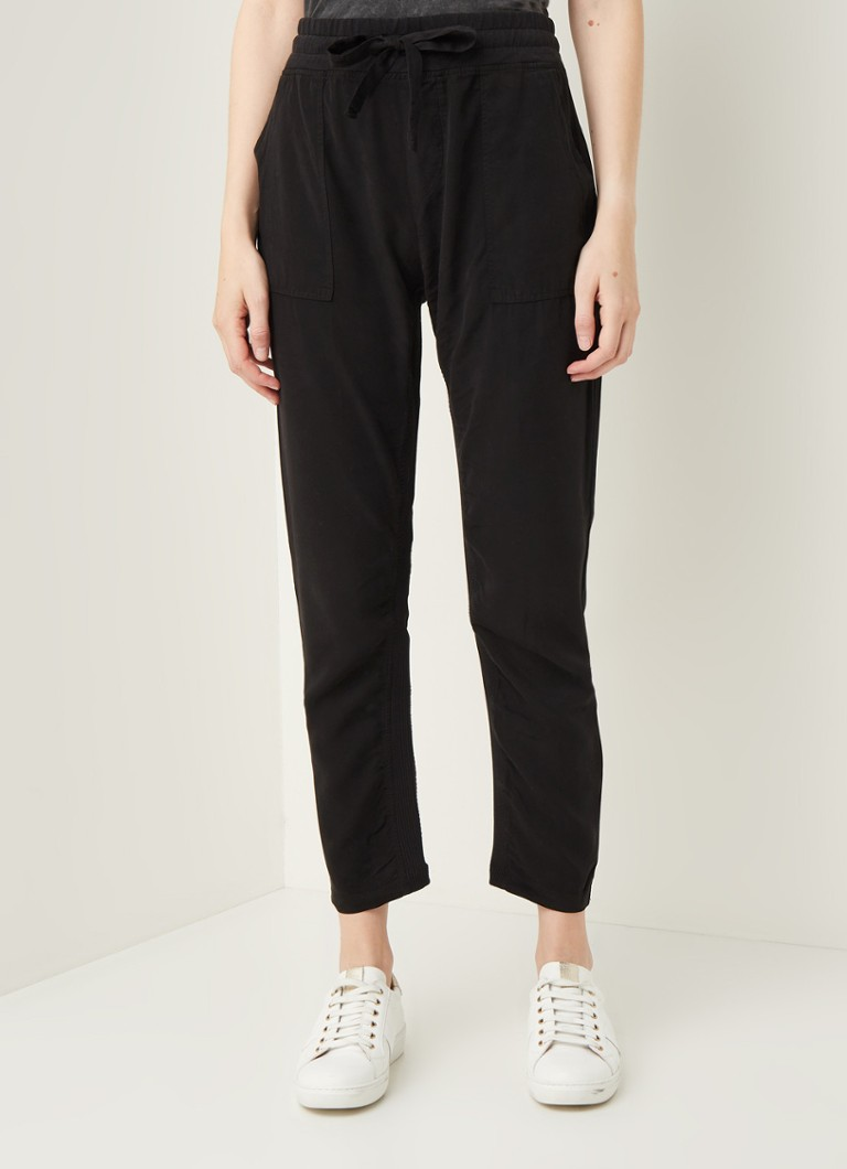 10DAYS - High waist straight fit cropped pantalon van lyocell - Zwart