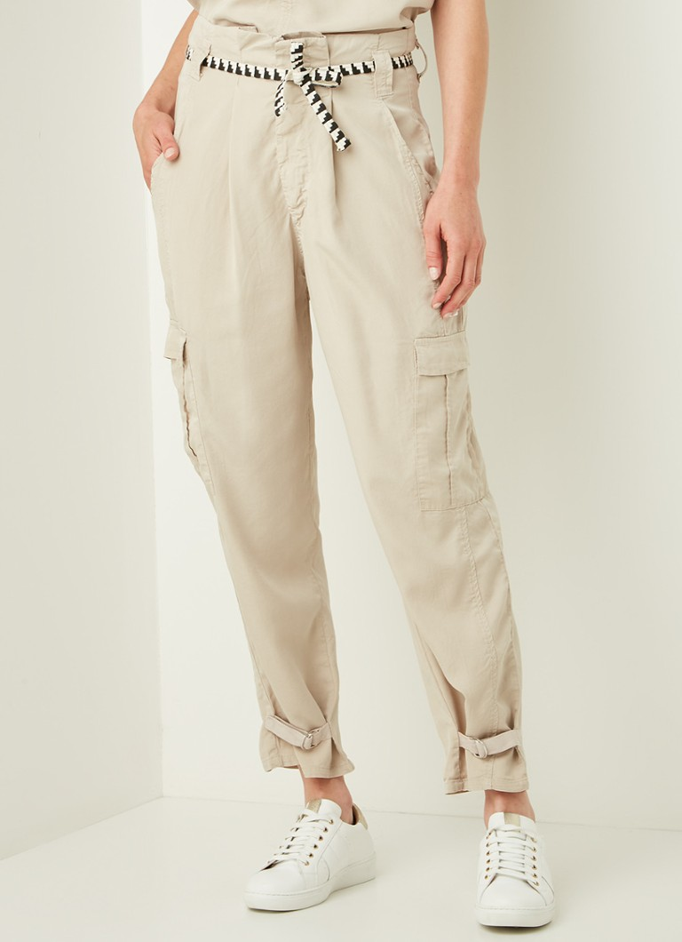 10DAYS - Safari high waist tapered fit cargobroek van tencel - Beige