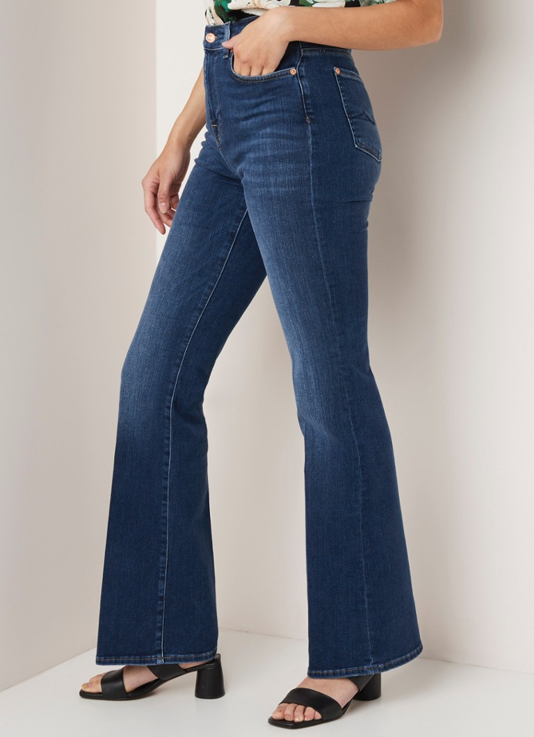 7 For All Mankind - 7 For All Mankind Lisa Slim Illusion high waist flared fit jeans met medium wassing - Indigo