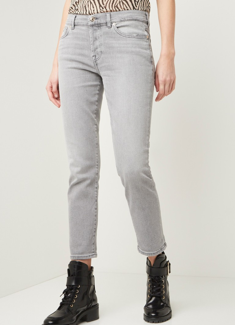 7 For All Mankind - Asher mid waist straight fit jeans  - Antraciet