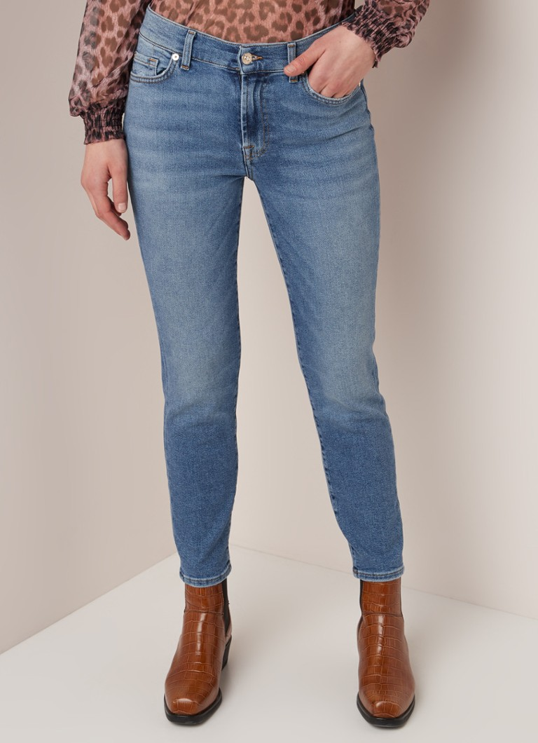7 For All Mankind - Roxanne cropped high waist slim fit jeans - Indigo