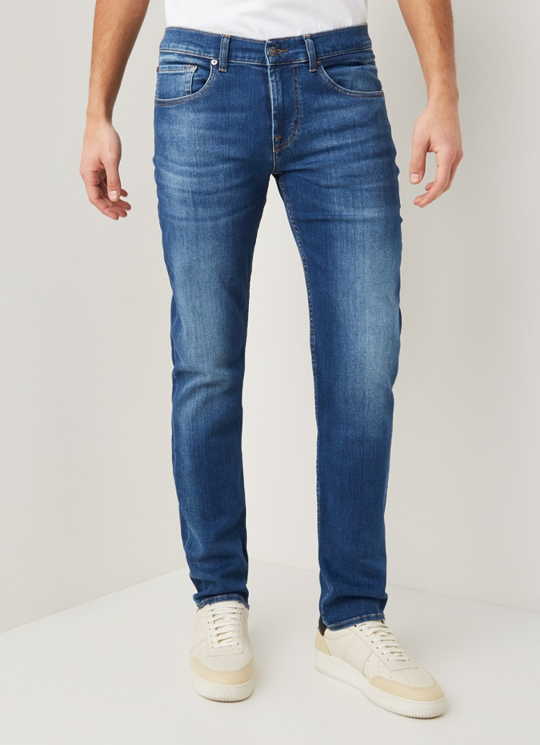 7 For All Mankind - Slimmy tapered fit jeans met stretch - Indigo
