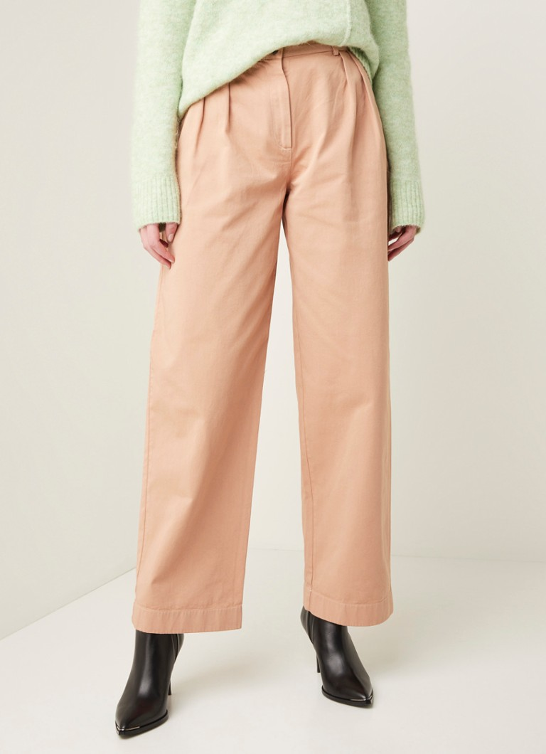 Acne Studios - High waist straight fit pantalon van twill katoen - Oudroze