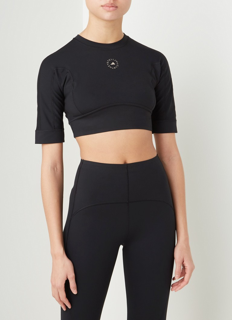 adidas - Crop top met cut-out detail en logoprint - Zwart