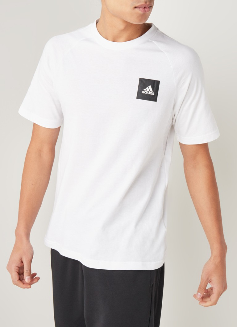 adidas - Trainings T-shirt met logoprint - Wit
