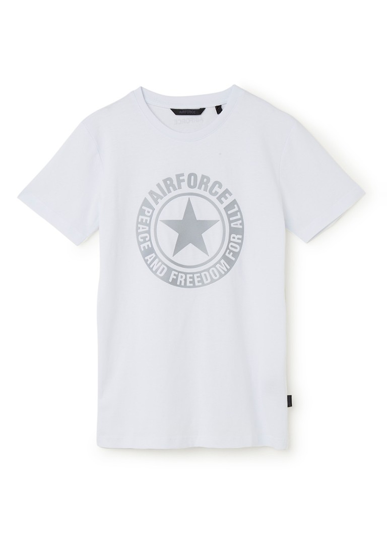 Airforce - T-shirt met reflecterende logo-applicatie - Wit
