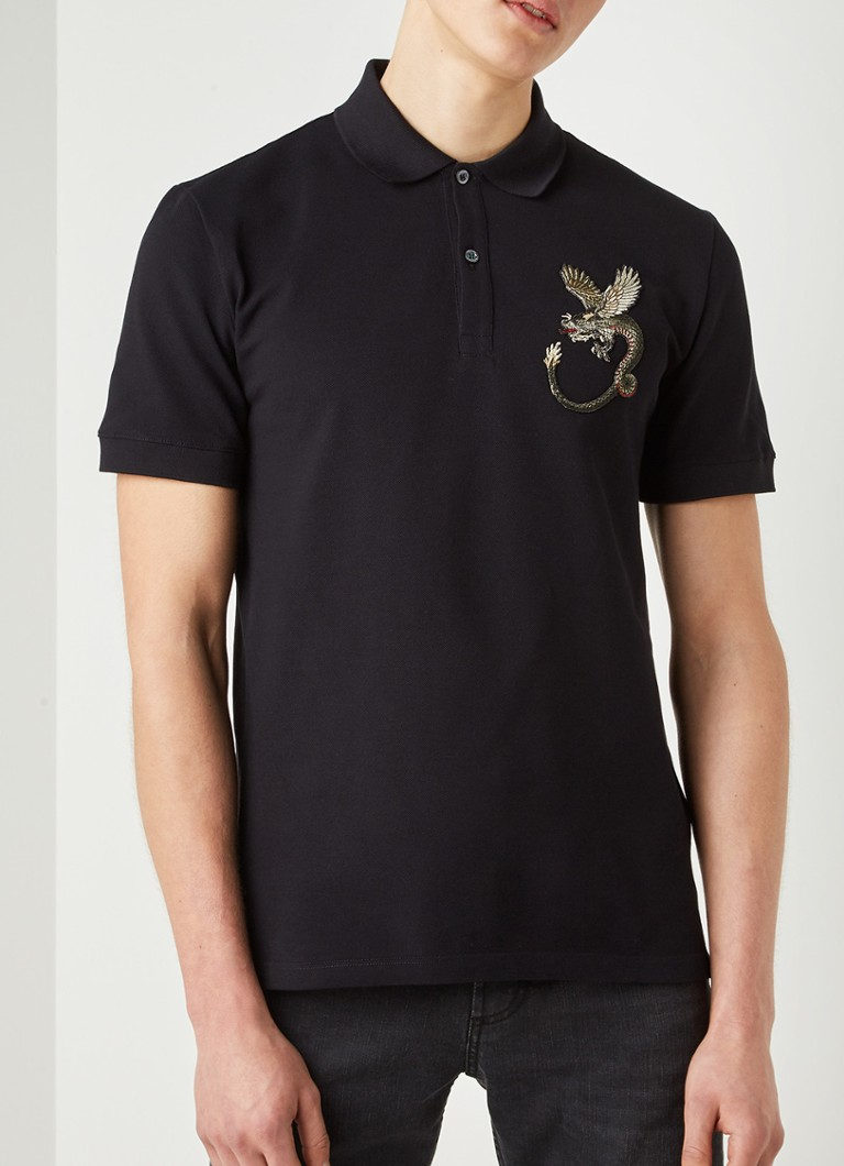 Alexander McQueen - Dragon slim fit polo met patch - Zwart