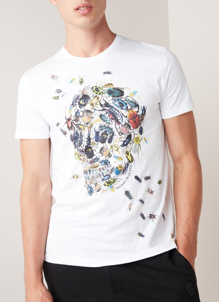 Alexander McQueen - The Beetle Skull T-shirt met frontprint - Wit