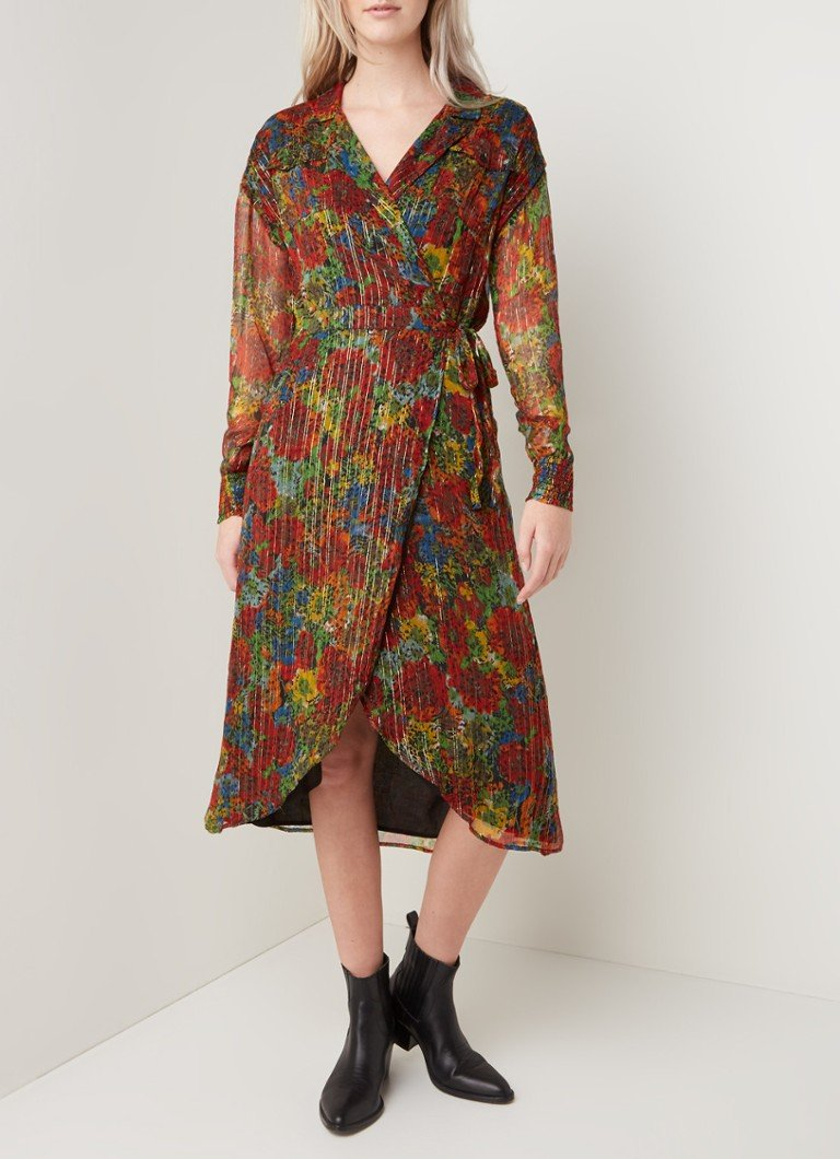 Alix The Label - Midi wikkeljurk met print en lurex - Multicolor