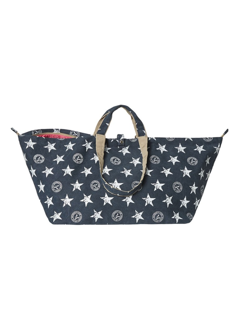 All-Time Favourites - Stars shopper groot van canvas met dessin - Middenblauw