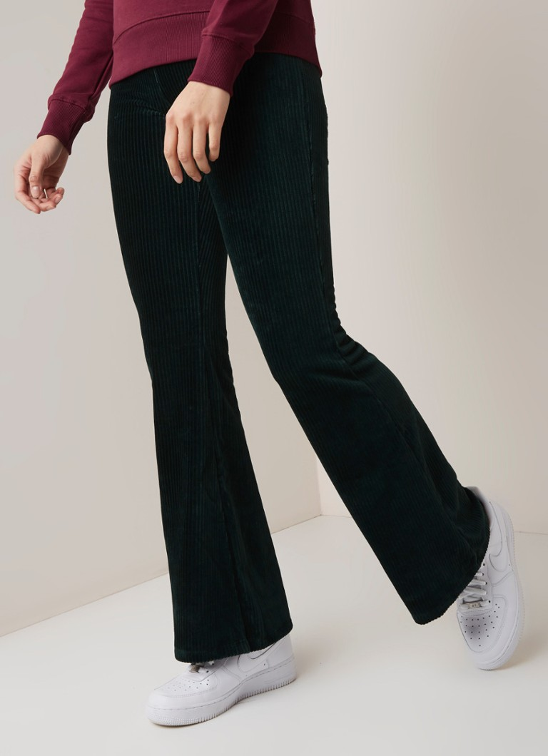 America Today - Charly flared fit broek van corduroy - Groen