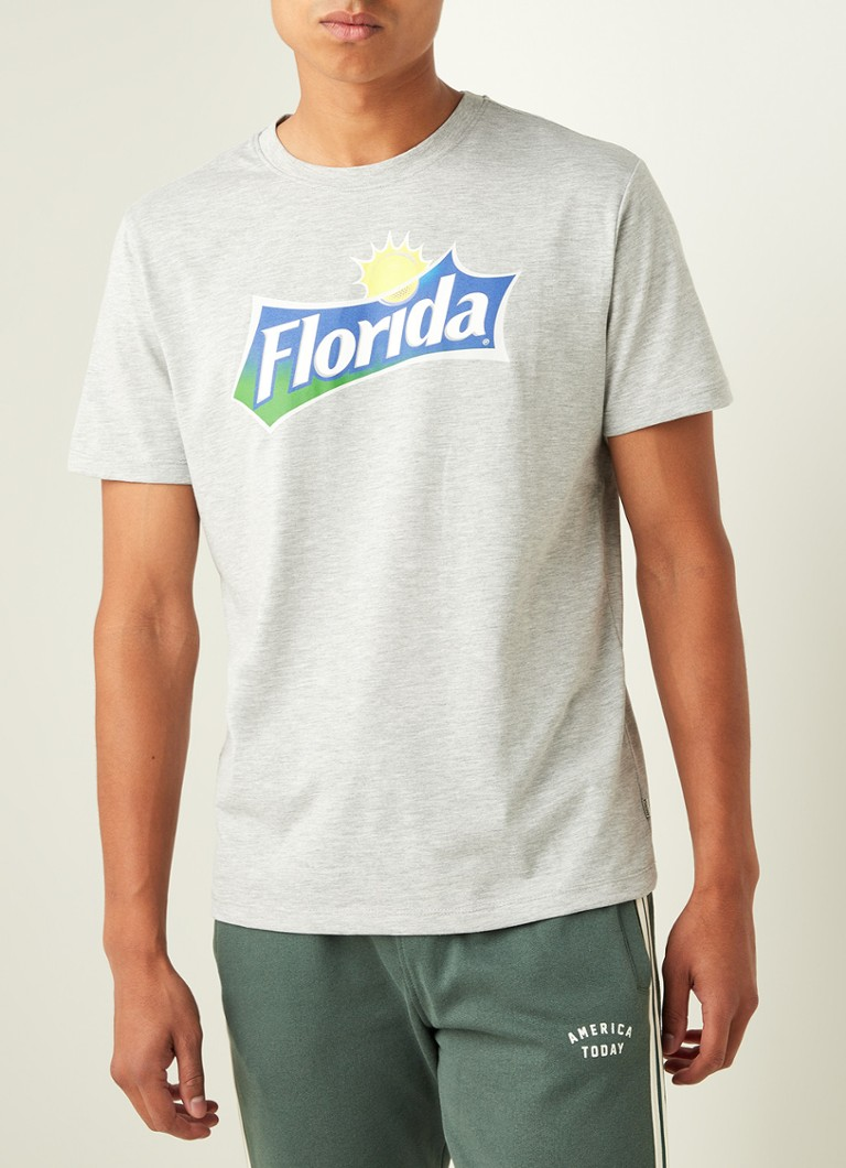 America Today - Ed Florida T-shirt met frontprint - Grijs