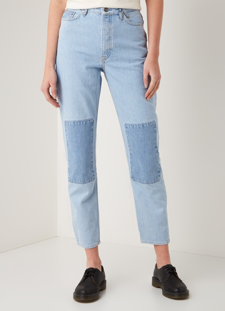 America Today - Jadan high waist tapered fit jeans met patchworkprint - Indigo
