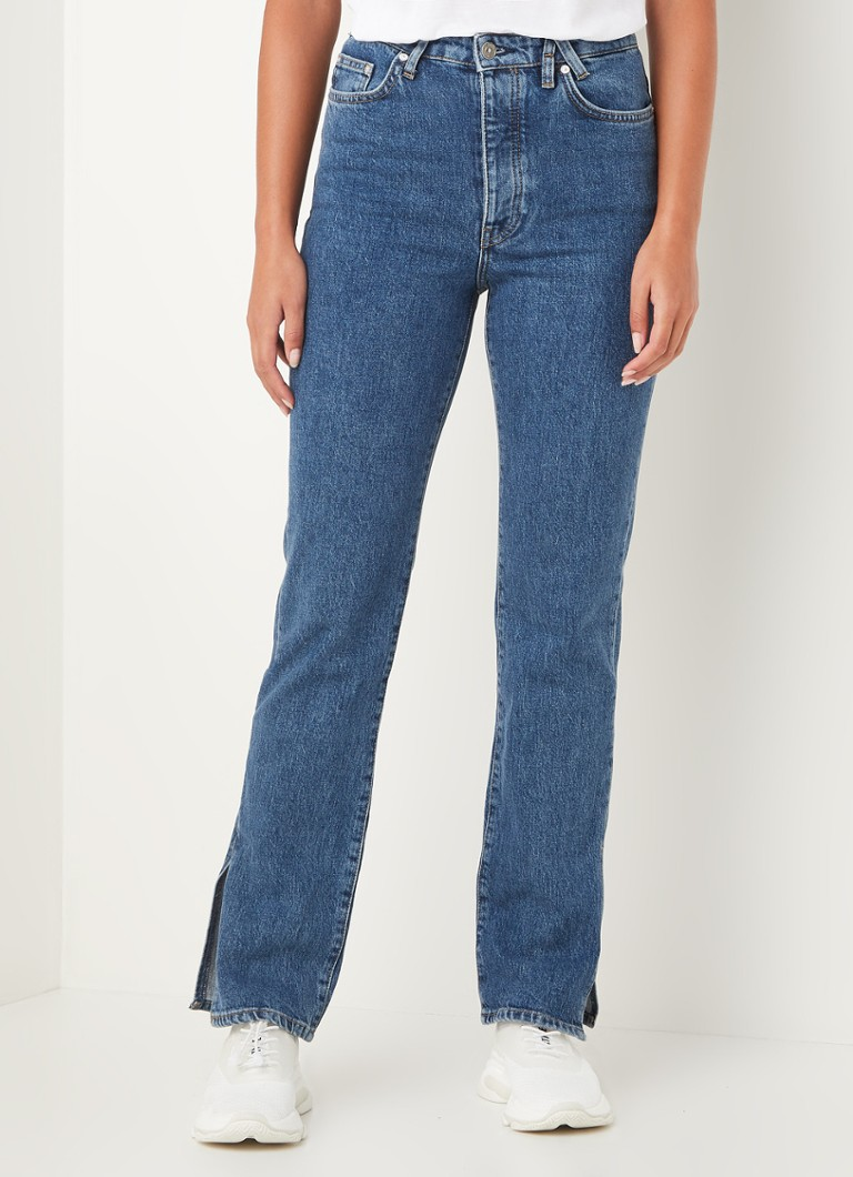 America Today - Mila high waist straight fit jeans met split - Indigo
