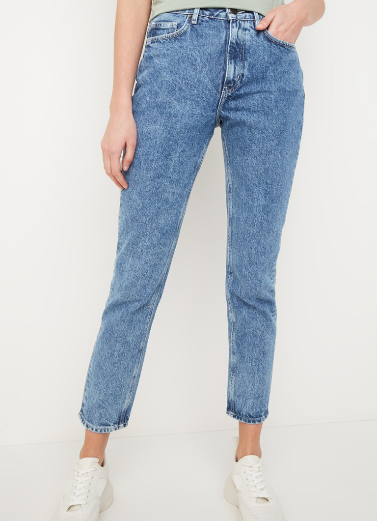 American Vintage - High waist tapered fit jeans met medium wassing - Indigo